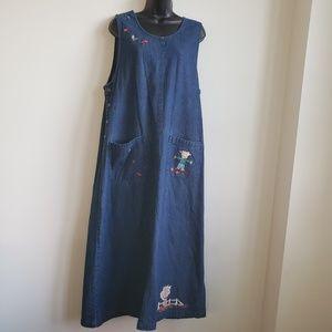 Westbound Autumn Cotton Denim Jumper Maxi Dress